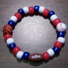 "Acrylic Red, White & Blue Sports Stretch Bracelet 6.5"" U.S.A."