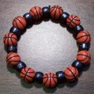 "Acrylic Black Basketball Sports Stretch Bracelet 6.5"" U.S.A."