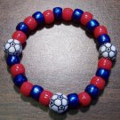 "Acrylic Blue & Red Soccer Sport Stretch Bracelet 6.5"" U.S.A."