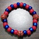 "Acrylic Blue & Red Basketball Sport Stretch Bracelet 6.5"" U.S.A."