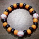 Acrylic Black & Orange Baseball Sport Stretch Bracelet 6.5""