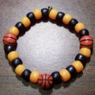 "Acrylic Black & Orange Basketball Sport Stretch Bracelet 6.5"""