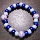 "Acrylic Blue & White Baseball Sport Stretch Bracelet 6.5"" U.S.A."