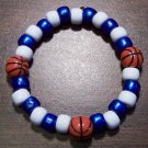 Acrylic Blue & White Basketball Sport Stretch Bracelet 6.5""