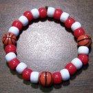 "Acrylic Red & White Basketball Sport Stretch Bracelet 6.5"""