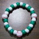 "Acrylic Green & White Baseball Sport Stretch Bracelet 6.5"""