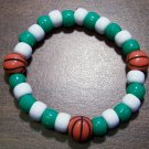 "Acrylic Green & White Basketball Sport Stretch Bracelet 6.5"""