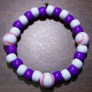 Acrylic Purple & White Baseball Sport Stretch Bracelet 6.5""
