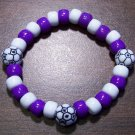 Acrylic Purple & White Soccer Ball Sport Stretch Bracelet 6.5""