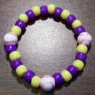 Acrylic Purple & Yellow Baseball Sport Stretch Bracelet 6.5""