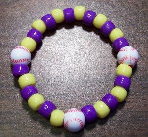"Acrylic Purple & Yellow Baseball Sport Stretch Bracelet 6.5"""