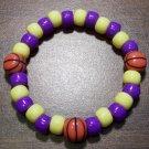 "Acrylic Purple & Yellow Basketball Sport Stretch Bracelet 6.5"""