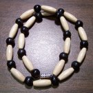 "Tribal White & Black Wood Necklace 16"" Made in the U.S.A."
