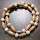 "Tribal Tan & White Wood Necklace 16"" Made in the U.S.A."