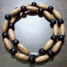 "Tribal Tan & Black Wood Necklace 16"" Made in the U.S.A."