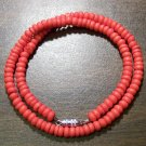 "Tribal Orange Camel Bone Necklace 16"" Made in the U.S.A."