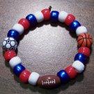 "Acrylic Red, White & Blue Sports Stretch Bracelet 5.5"" U.S.A."