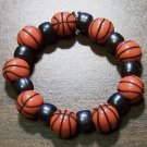 "Acrylic Black Basketball Sports Stretch Bracelet 5.5"" U.S.A."