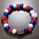 "Acrylic Red, White & Blue Sports Stretch Bracelet 5.5"" U.S.A."