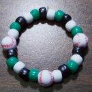"Acrylic Black, Green & White Baseball Sport Stretch Bracelet 5.5"""