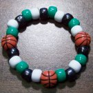 Acrylic Black, Green & White Basketball Stretch Bracelet 5.5""
