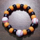 Acrylic Black & Orange Baseball Sport Stretch Bracelet 5.5""