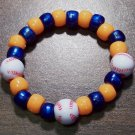 Acrylic Blue & Orange Baseball Sport Stretch Bracelet 5.5""