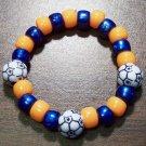 "Acrylic Blue & Orange Soccer Ball Sport Stretch Bracelet 5.5"""
