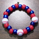 "Acrylic Blue & Red Baseball Sport Stretch Bracelet 5.5"" U.S.A."