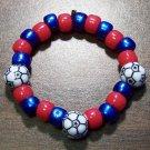 "Acrylic Blue & Red Soccer Ball Sport Stretch Bracelet 5.5"" U.S.A."