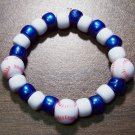 "Acrylic Blue & White Baseball Sport Stretch Bracelet 5.5"" U.S.A."