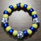 Acrylic Blue & Yellow Soccer Ball Sport Stretch Bracelet 5.5""