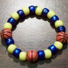 Acrylic Blue & Yellow Basketball Sport Stretch Bracelet 5.5""