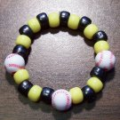 Acrylic Black & Yellow Baseball Sport Stretch Bracelet 5.5""