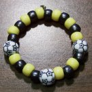 Acrylic Black & Yellow Soccer Ball Sport Stretch Bracelet 5.5""