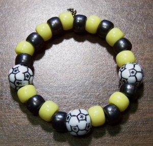 "Acrylic Black & Yellow Soccer Ball Sport Stretch Bracelet 5.5"""