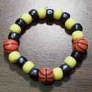 Acrylic Black & Yellow Basketball Sport Stretch Bracelet 5.5""