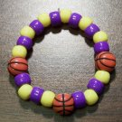 Acrylic Purple & Yellow Basketball Sport Stretch Bracelet 5.5""