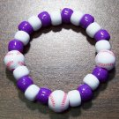Acrylic Purple & White Baseball Sport Stretch Bracelet 5.5""