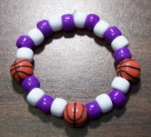 Acrylic Purple & White Basketball Sport Stretch Bracelet 5.5""