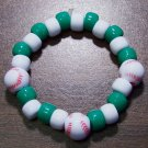 Acrylic Green & White Baseball Sport Stretch Bracelet 5.5""