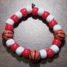 Acrylic Red & White Basketball Sport Stretch Bracelet 5.5""