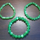 "3 Green Acrylic Stretch Bracelets 7.4"" Made in the U.S.A."