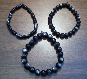 "3 Black Acrylic Stretch Bracelets 7.4"" Made in the U.S.A."