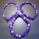"3 Purple Acrylic Stretch Bracelets 7.4"" Made in the U.S.A."
