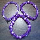 "3 Purple Acrylic Stretch Bracelets 7.4"" Made in the U.S.A."