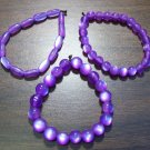 "3 Purple Acrylic Stretch Bracelets 6.9"" Made in the U.S.A."