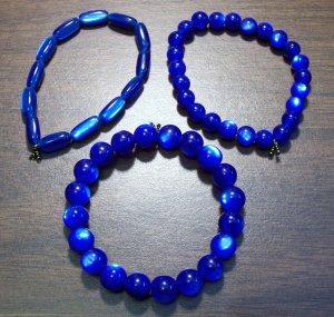 "3 Dark Blue Acrylic Stretch Bracelets 6.9"" Made in the U.S.A."