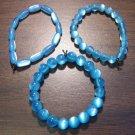 """3 Light Blue Acrylic Stretch Bracelets 6.9"""" Made in the U.S.A."""