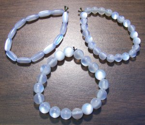 "3 White Acrylic Stretch Bracelets 6.9"" Made in the U.S.A."